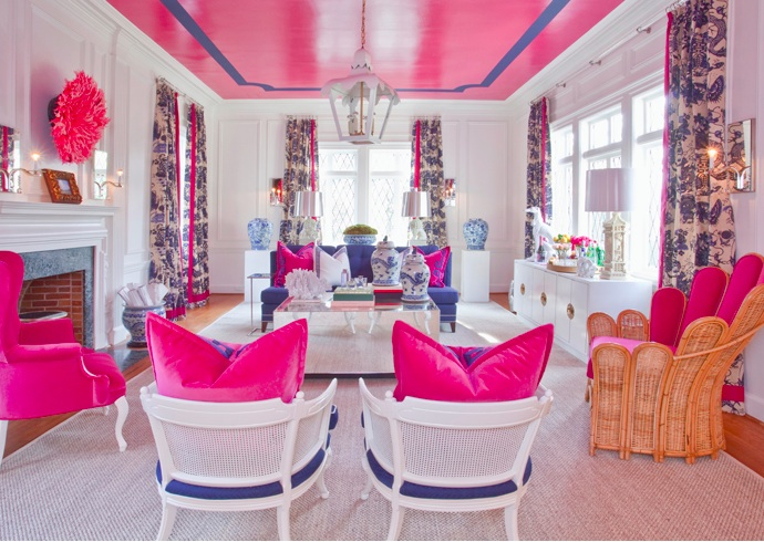 I adore this beautiful flamingo pink room by  Parker Kennedy Living  (they are one of my favs!)