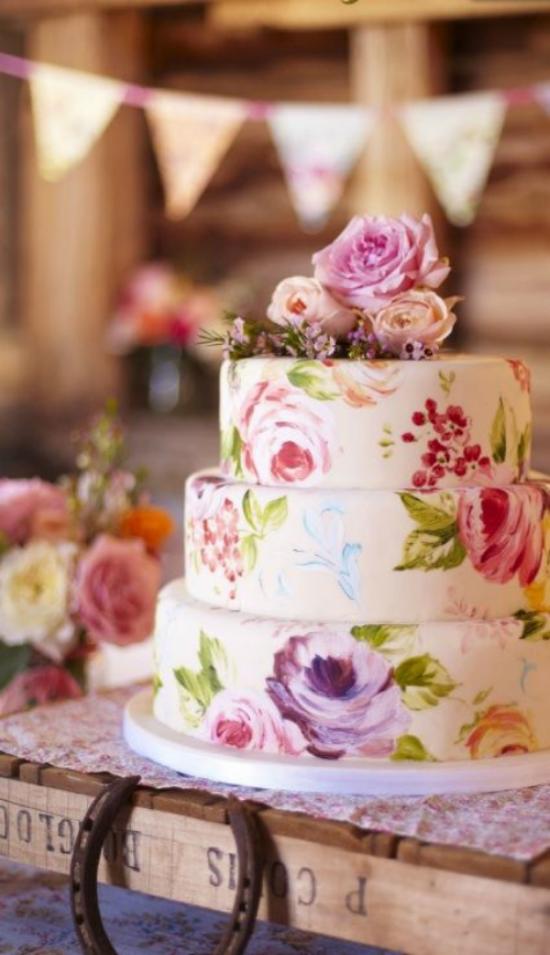 {Floral Wedding Print Cake}