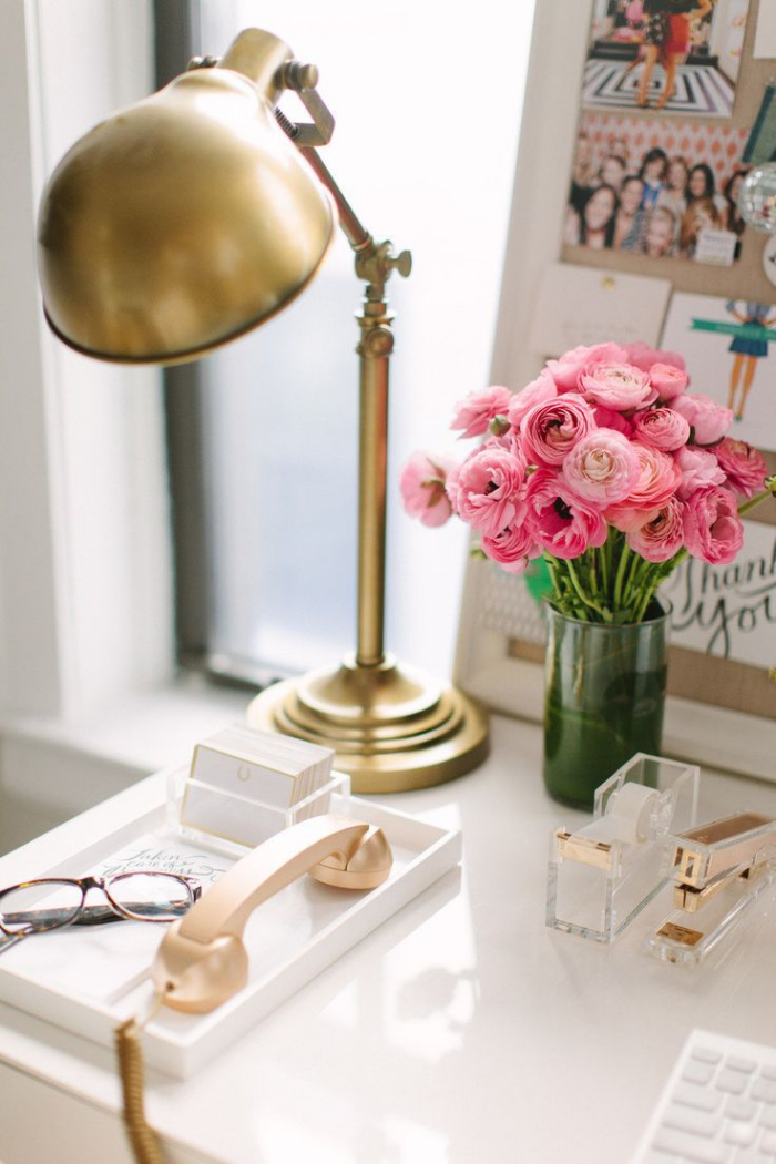 {Another Obsession of mine?   Kate Spade .  Pink is otherwise known as a neutral to Ms. Spade and paired with gold is simply divine!  I adore her office accessories and am guilty to have quite a few in my office as well!  Photo Credit to  M { Pression's fabulous blog.  }