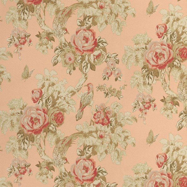 "Anna French ""Bird in a Bush"" Wallpaper in Peach"