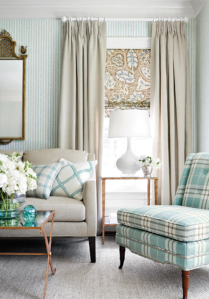 Adorable Chair in  Percival Plaid  by Thibaut Design. I loved all of their plaid this past market!