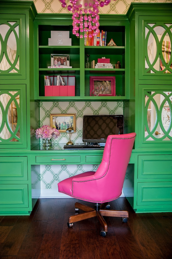 This pink and green office by  Jenny Tamplin  is Killer!! She has a new fan by the way!