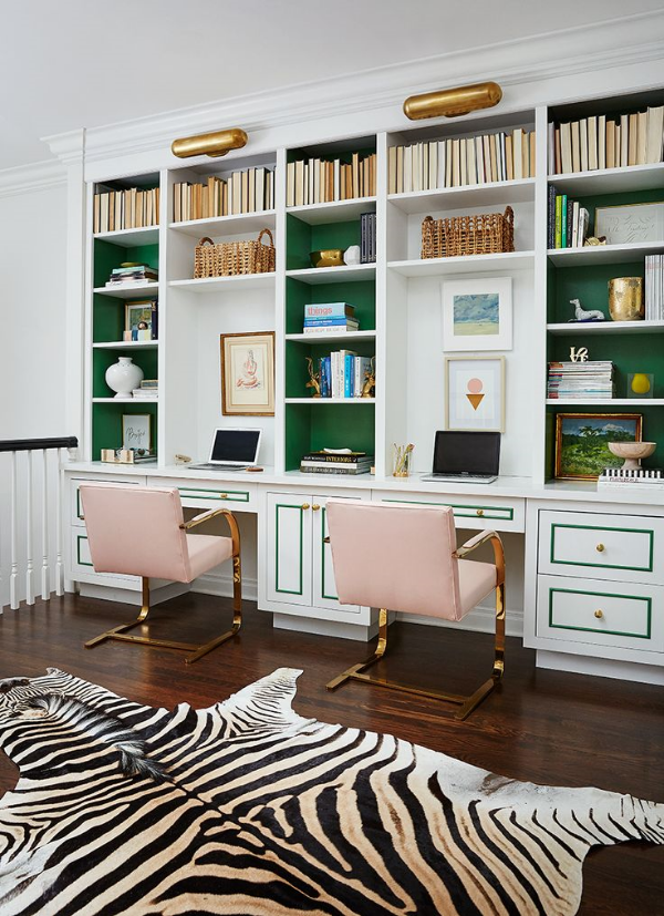 I LOVE pink and green together. LOVE it! This is a greaty office space designed by clayton lane!