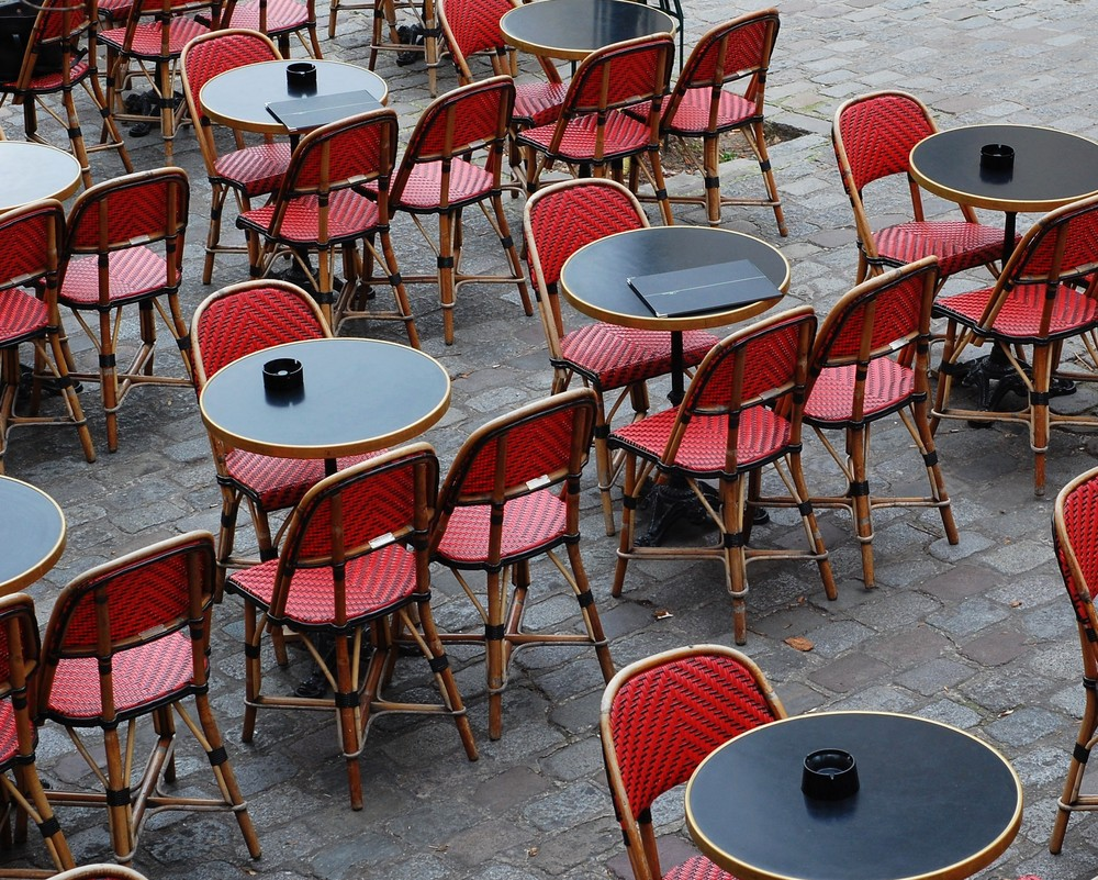 A red cafe set-up in Montmartre