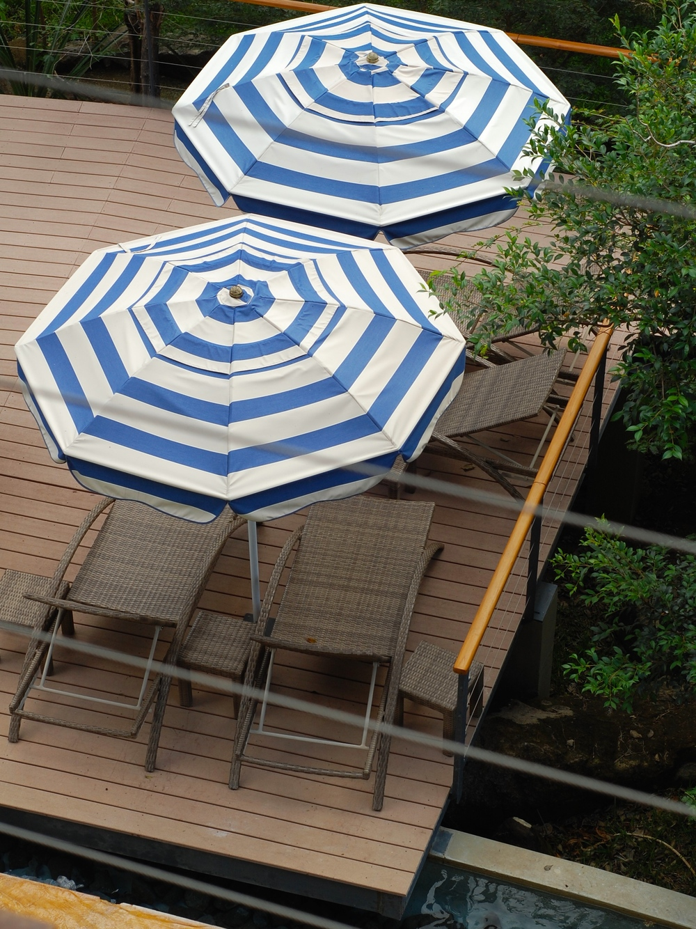 Pool umbrellas at Rio Perdido