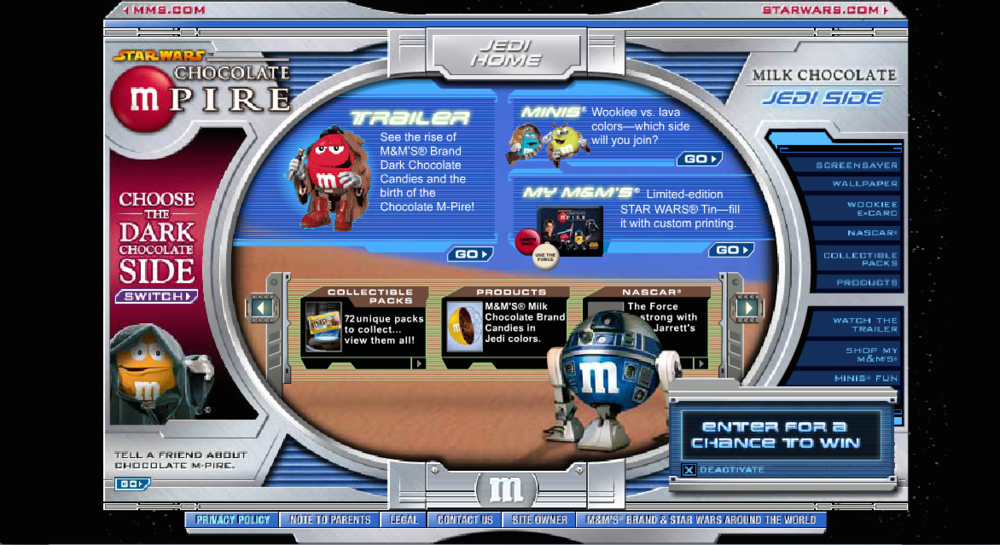 ...to reveal the Jedi side of the site, with a Wookie translator, games, downloads and Milk Chocolate M&M's content