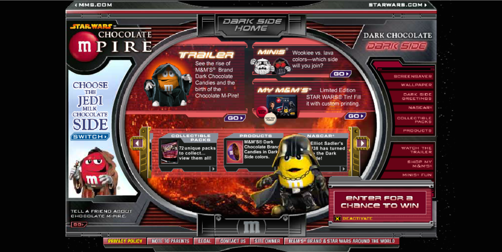 The Dark Side of the minisite housed evil trivia, the video trailer and Dark Chocolate M&M's info