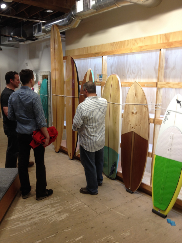 Board show fund raiser in Portland. Showing a five board quiver.