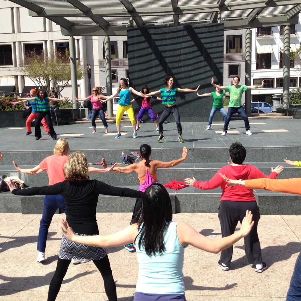 Andreina teaching Zumba in Union Square