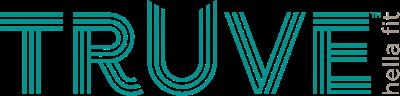 Truve Fit Logo. Blue lettering Truve hella fit