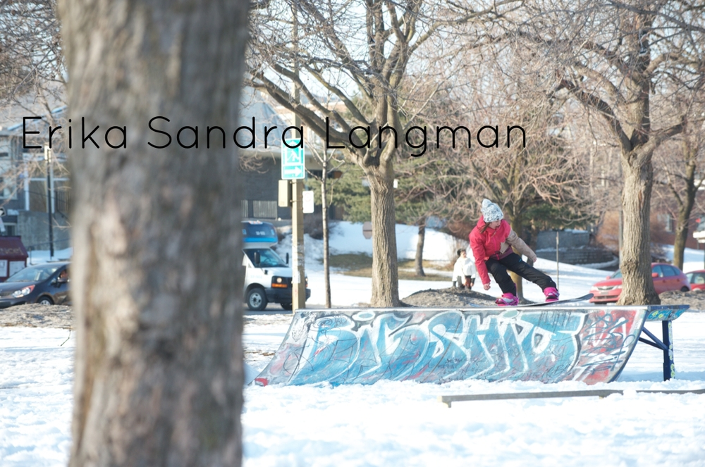 My name is Erika Sandra Langman and I hail from Collingwood, Ontario. I spend the majority of my winter days pursuing the endless search for pow in mountains of Blue –or shall I say hills since it's slightly more accurate? Vertical drop aside, we actually have a great scene of park riders who base success on the number of laps we can get in each day. Ontario prides itself on creativity and you really see it unfold with the features that come out of the resorts, video parts hitting the streets and the sheer number of events that take place to keep everyone pushing their limits. In the summer I spend my time all over the map competing in the WWA Wakepark World Series for cable wakeboarding. I'm stoked to be a part of the Nibz crew – I would have it no other way. The face masks are ninja protection from the likes of snow guns, howling winds, and icy faceplants. True Ontario-style full coverage.
