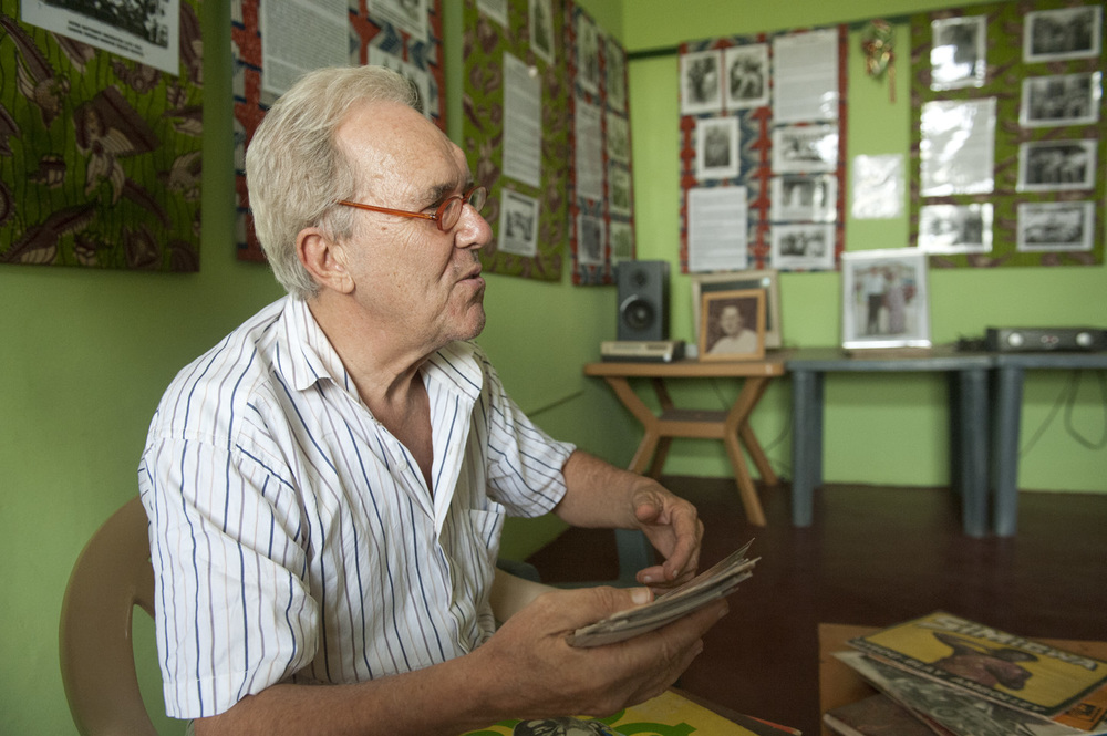 John Collins in 2011 at his Bokoor African Popular Music Archive Foundation near Accra, Ghana.