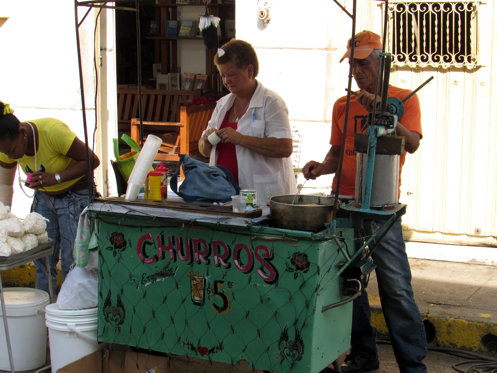 Selling churros on the street in Santa Clara