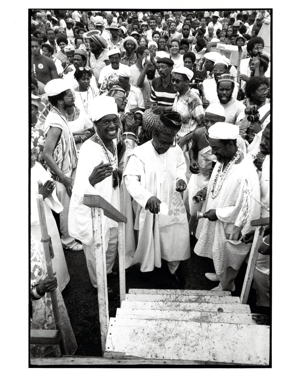 Babatunde Olatunji pours libation at the Odunde Festival (Philadelphia, 1984). Photo: Thomas B. Morton