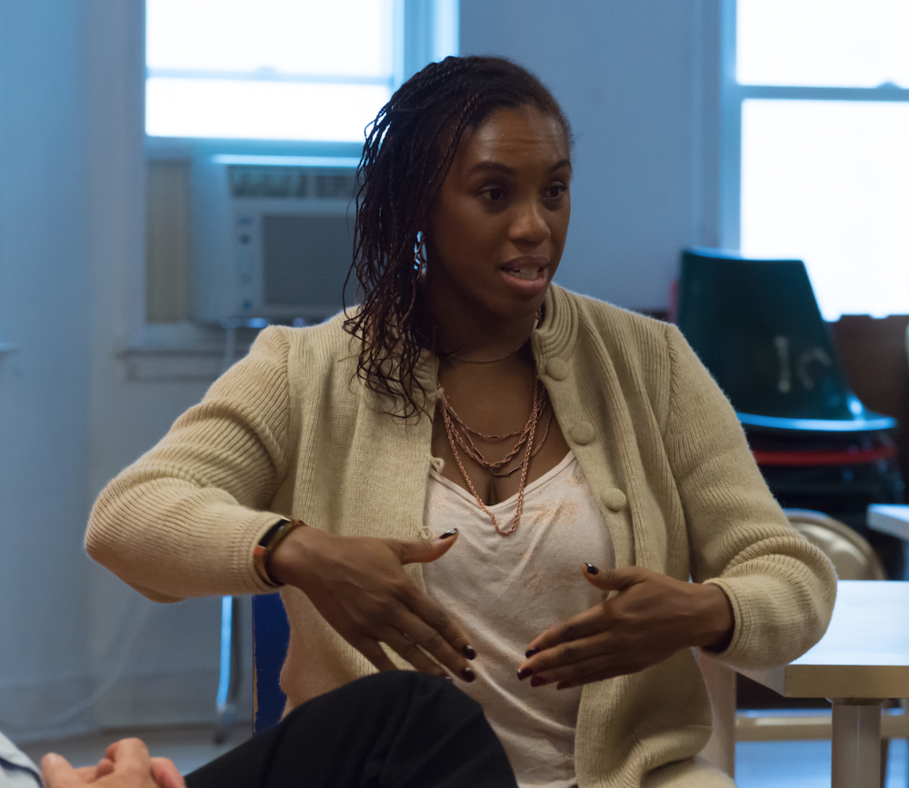 Nzinga Metzger participating in a Yoruba Project story circle, October 2017. Photo: Kat Kendon.