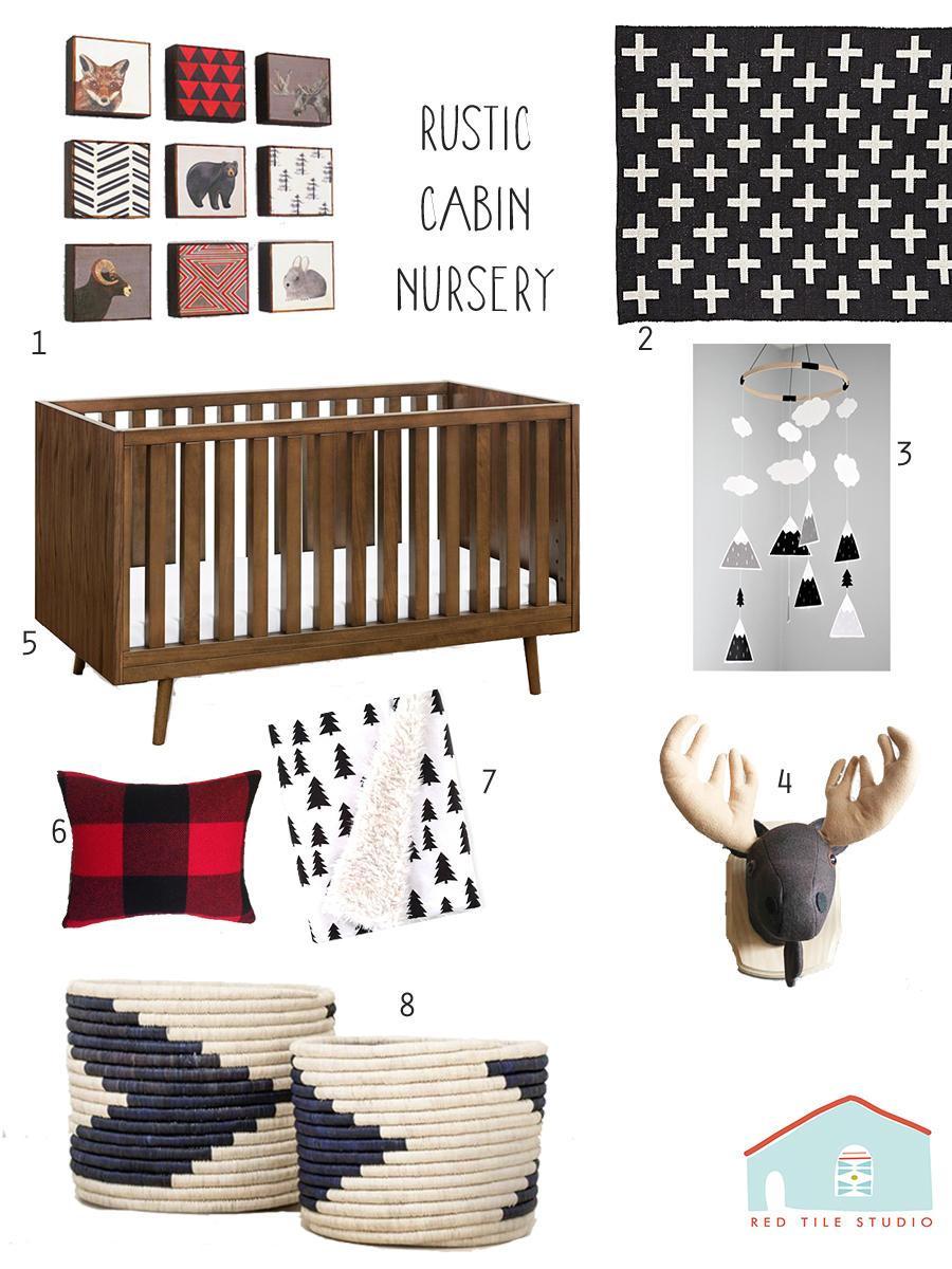 1.  rustic nursery art blocks  2.  rug 3.  mobile 4.  moose head 5.  crib   6.  pillow 7. blanket 8.  baskets