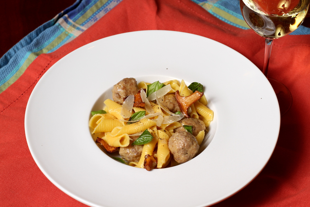 garganelli with veal and chanterelles