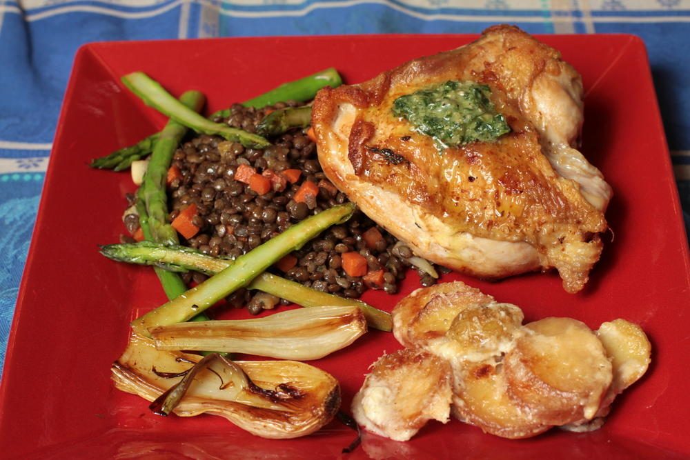 crispy chicken with lentils