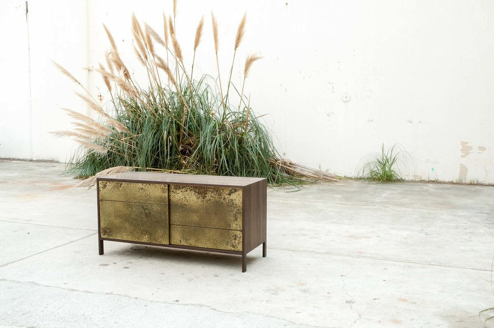 Brass and Walnut Sideboard