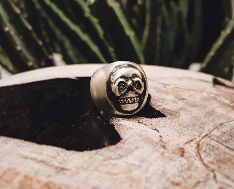 Sterling Silver with Salt and Pepper Diamond Eyes, Rustic Black Finish