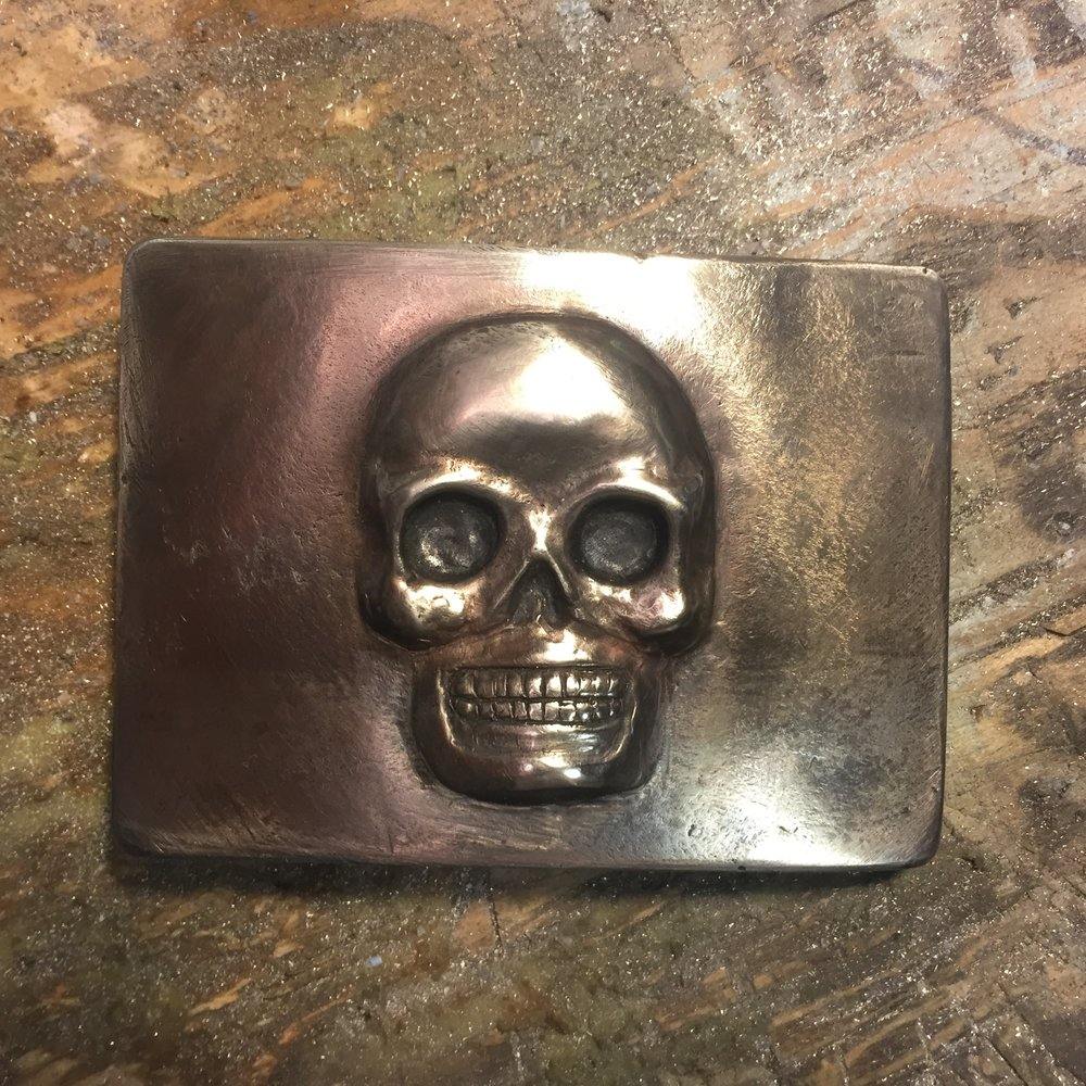 Matte Sterling Silver Belt Buckle with Rustic Black Finish
