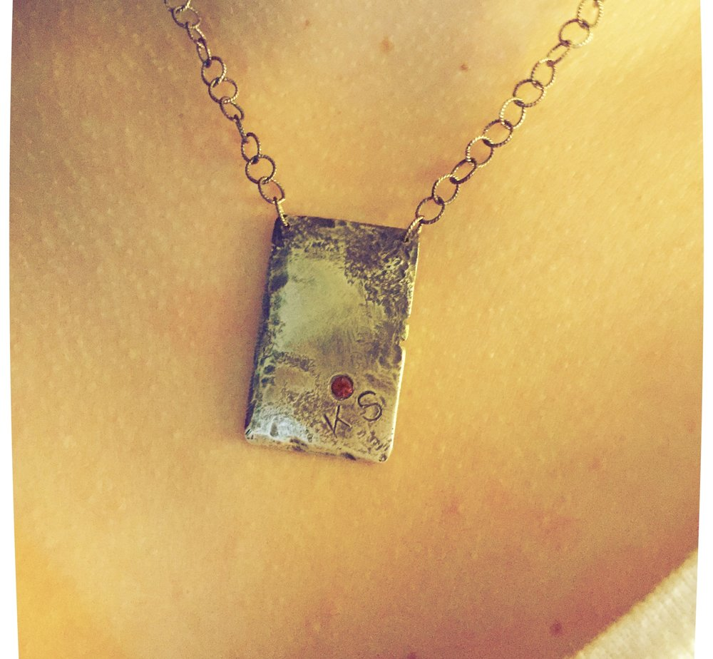Distressed Pendant with Monogram Stamp and Birthstone Setting: Sterling Silver with Rustic Black Finish