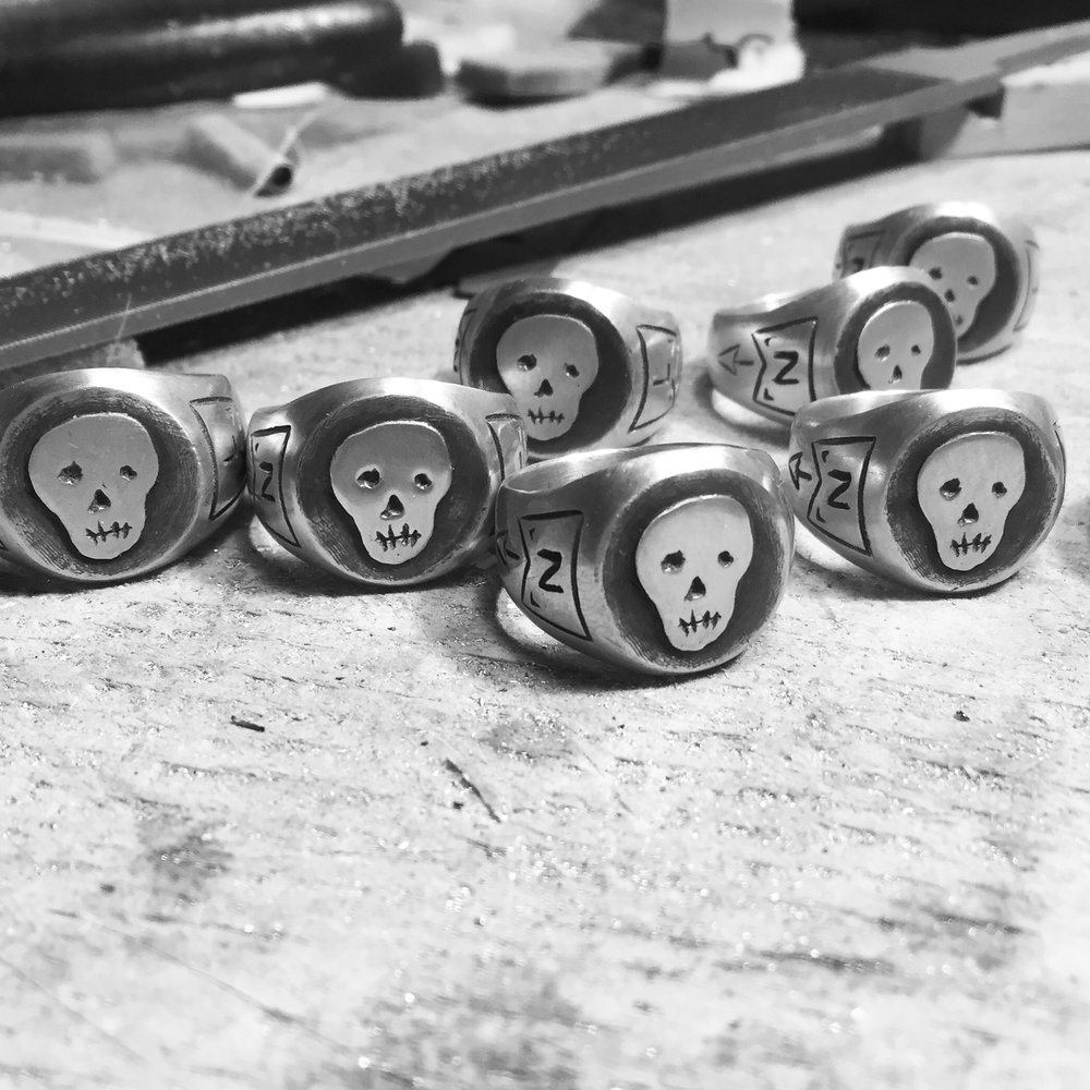 Logo Rings: Sterling Silver with Rustic Black Finish