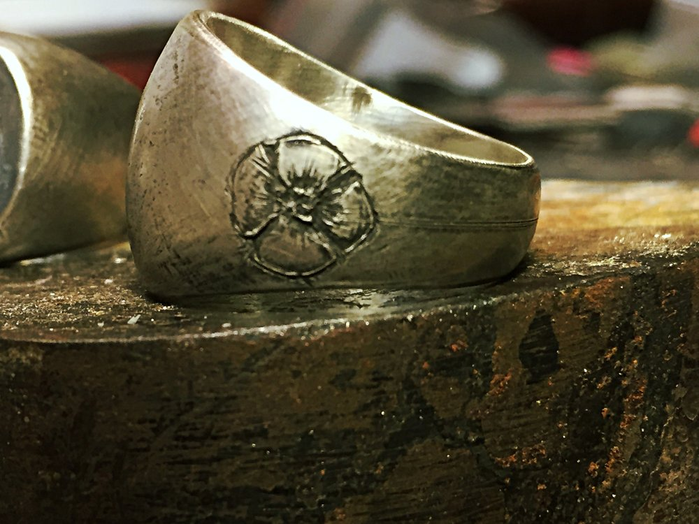 Wedding Band with custom flower:Sterling Silver with Rustic Black Finish