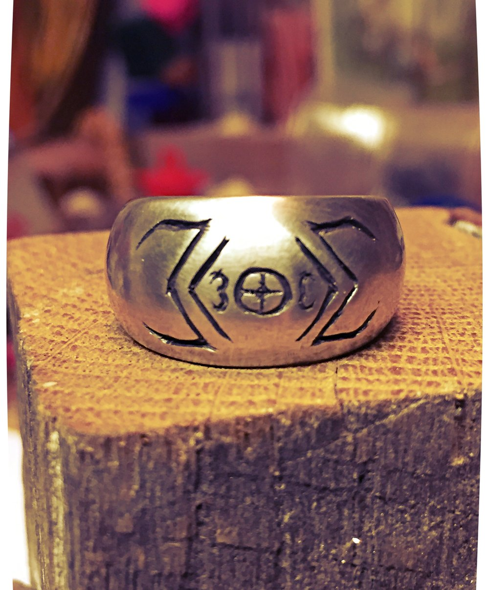 Logo Ring:Sterling Silver with Rustic Black Finish