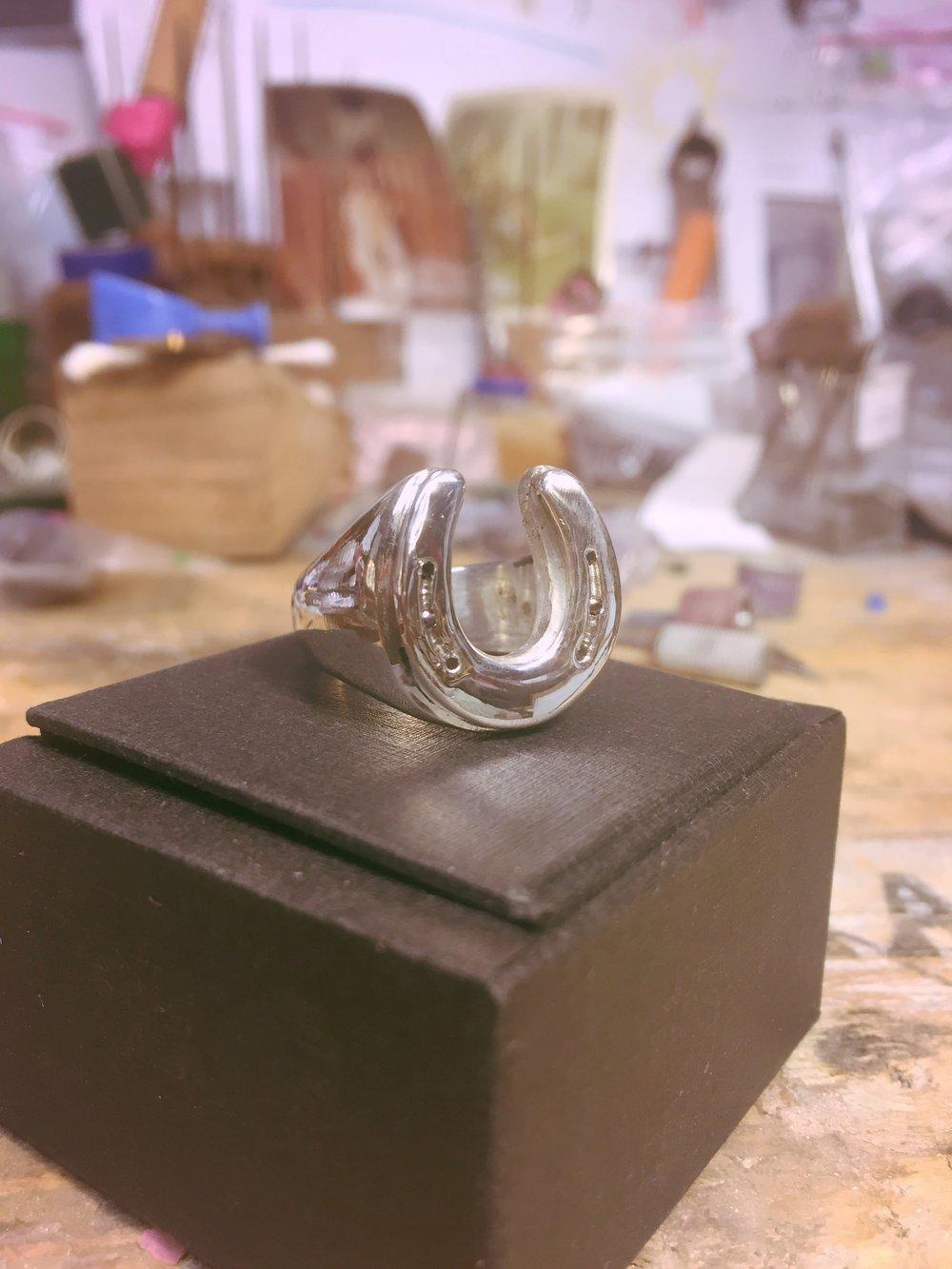 Customized Horseshoe Ring: Polished Sterling Silver with Black Diamonds