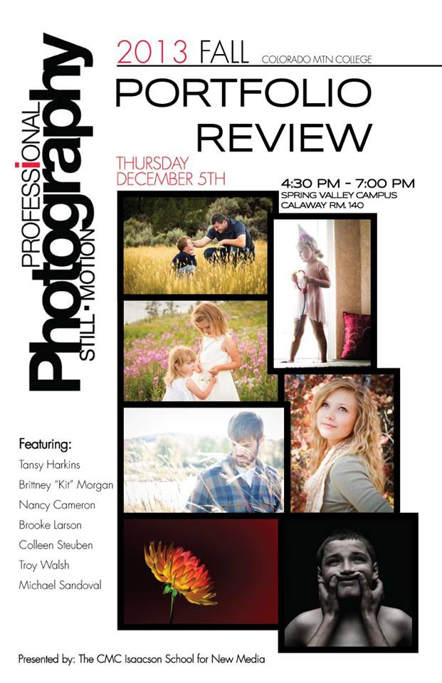 Colorado Mountain College's 2013 Fall Portfolio Review Poster created by Michael Angelo Sandoval