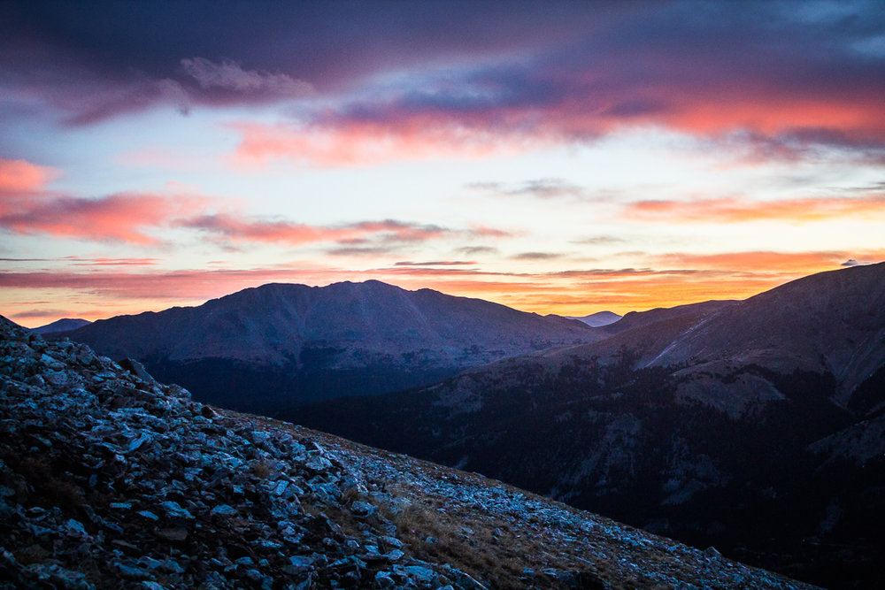 The sunrise at 12,500 ft on Quandary Peak during the 14ers.com annual Winter Welcomer.