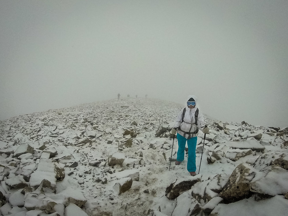 Myself at about 13,500 ft during my decent after finally summiting Quandary Peak in winter conditions.