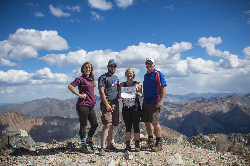 Myself, Justin, Makenzie, and Mike at the summit of La Plata Peak.