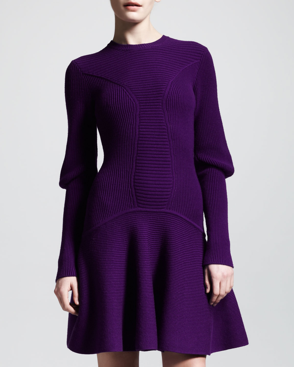 Purple Ribbed Knit Snood Dress - Alexander McQueen