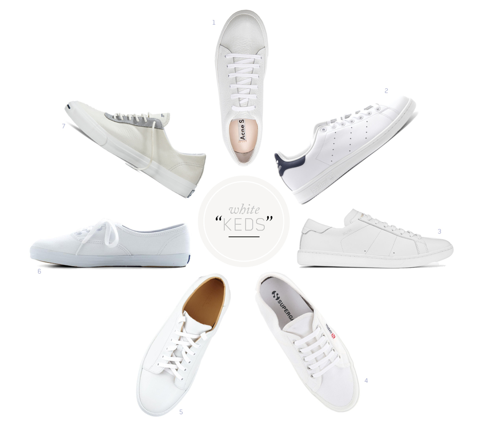 1.  ACNE Adrian Grain     / 2.    STAN SMITH Originals  / 3.  SAINT LAURENT Court   / 4.  SUPERGA Cotu  / 5.  A.P.C. Steffi  / 6.  KEDS Champion Canvas  / 7.  JACK PURCELL Buckley Suede