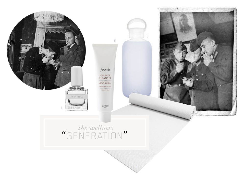 1.    T     ENOVERTEN top coat  / 2.  FRESH Soy Face Cleanser  / 3.  BKR Glass Water Bottle  / 4.  White Yoga Mat   1940s photographs of my grandfathers, both on the far right, lighting up cigarettes.