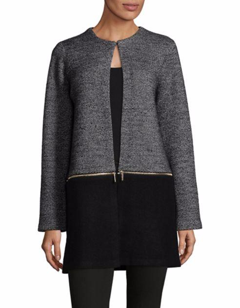 Karl Lagerfeld Paris- Colorblock Zip-Off Coat