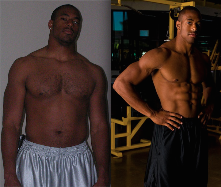 Before [Post Arena Football 4/2007 @ 255 lbs] After [2/2008 @ 215 lbs]