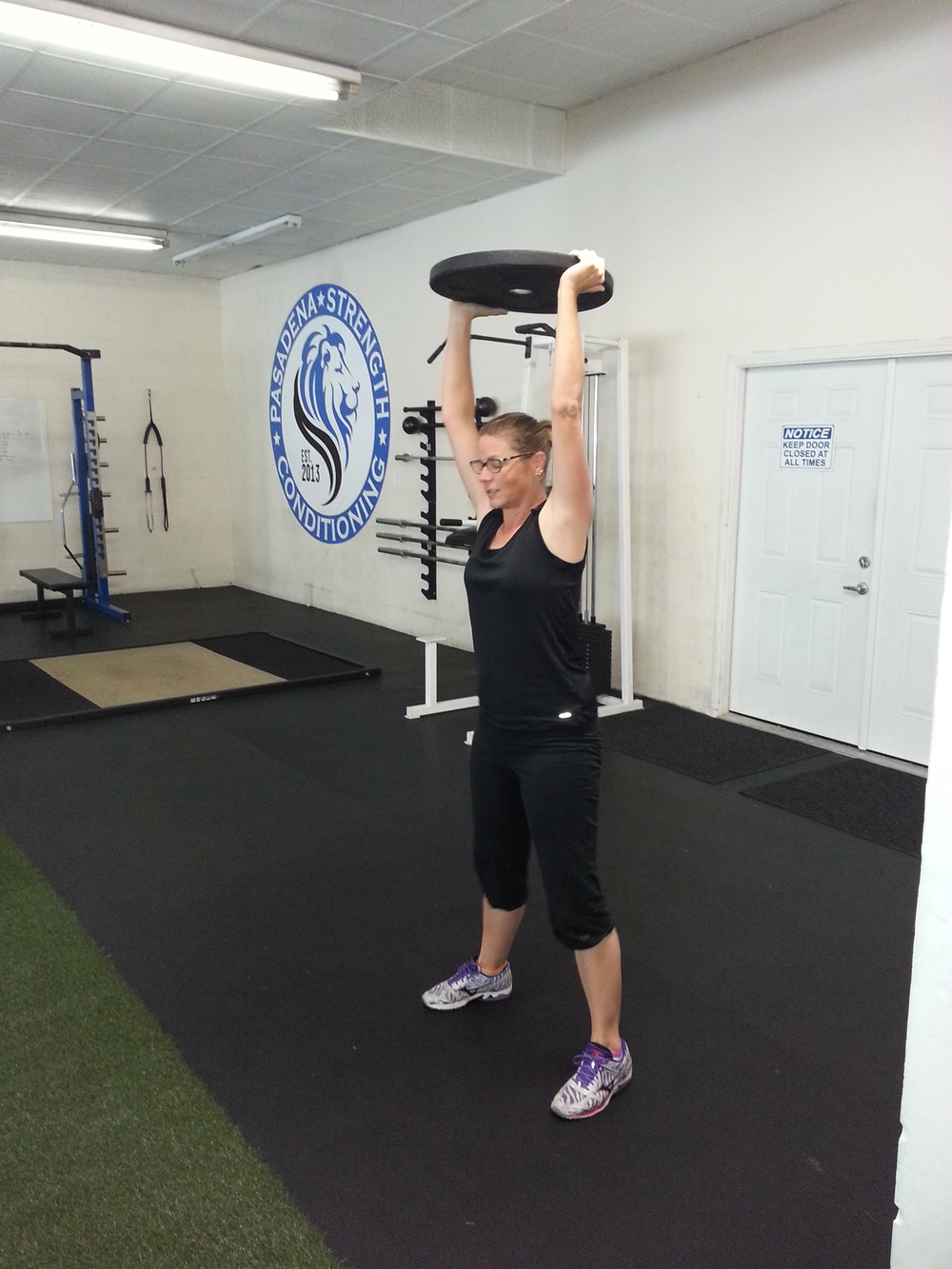Jerri doing Overhead Squats at Pasadena Strength and Conditioning, July 2014