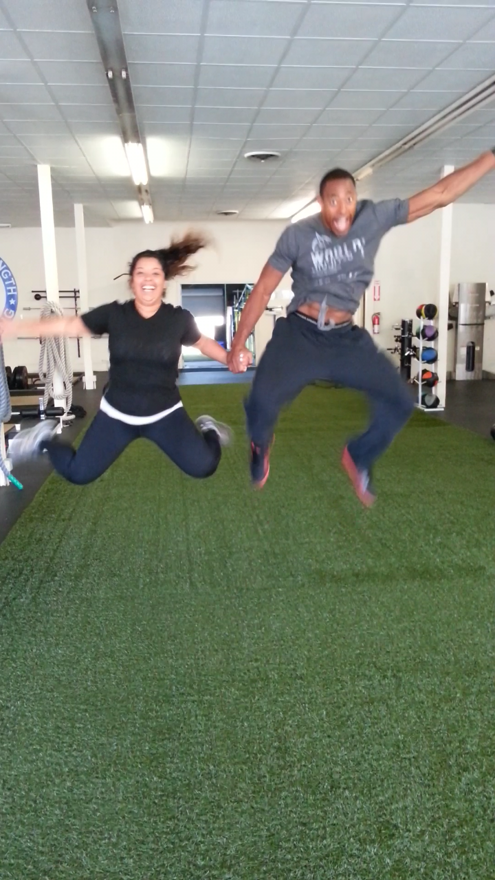 Amanda T. and I having a little fun after her workout, July 2014