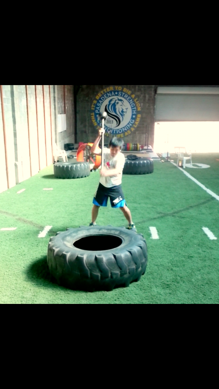 Yi completing a tire circuit with some tire hits with a Mace Ball