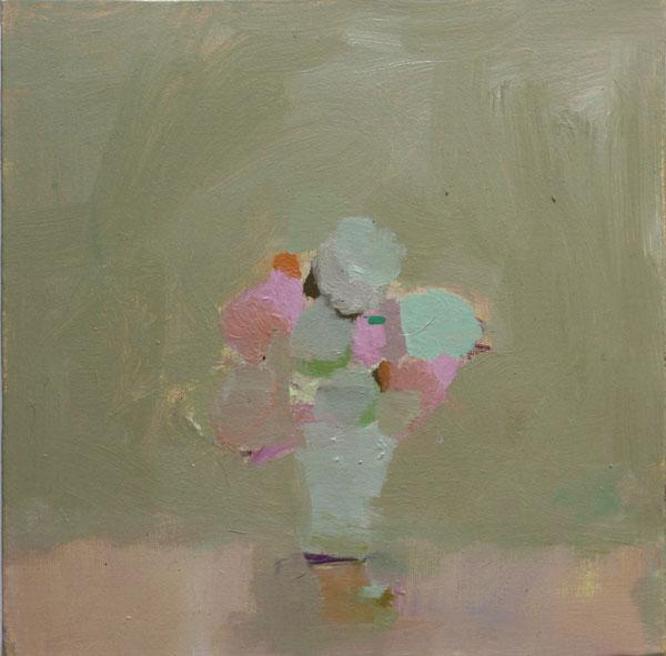 """Grey Green"" 2009 | oil on canvas | 12 x 12"" | ANNE LOUCKS | SOLD"