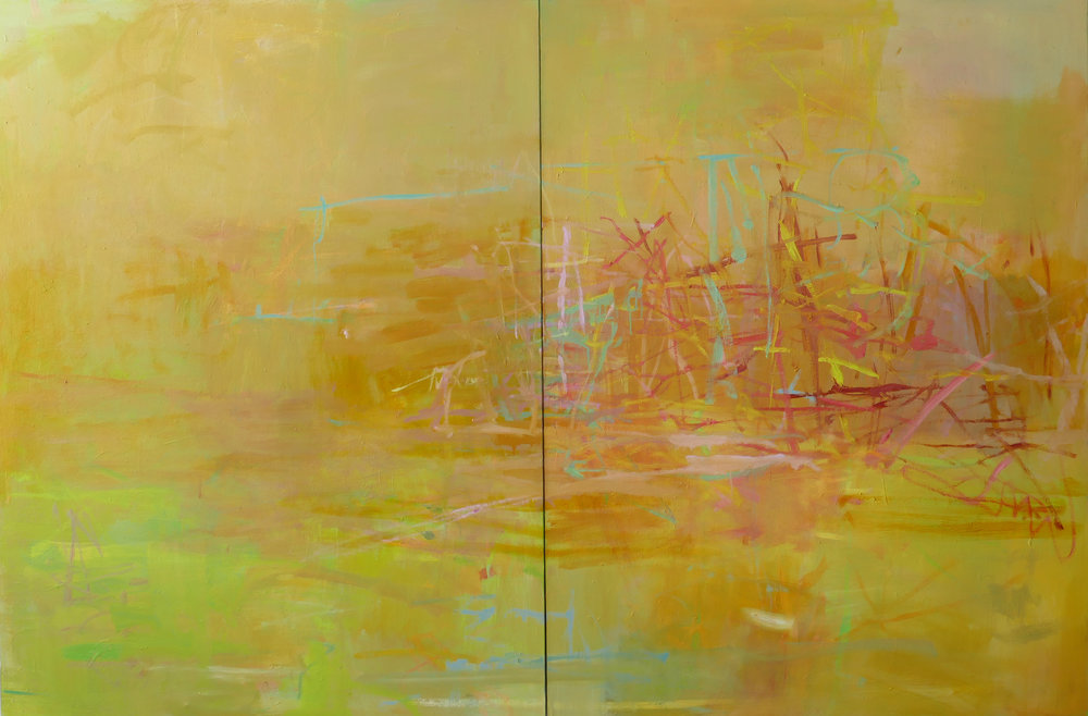 Sandra Russell, A Great While Ago, 2015, OIl on Canvas, 40x60, ( dyptich) $6500.jpg