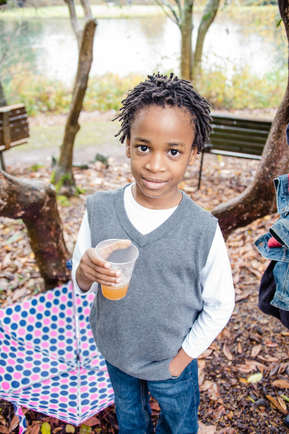 No Fall/Winter Photo Session is complete without hot apple cider. He loved it!