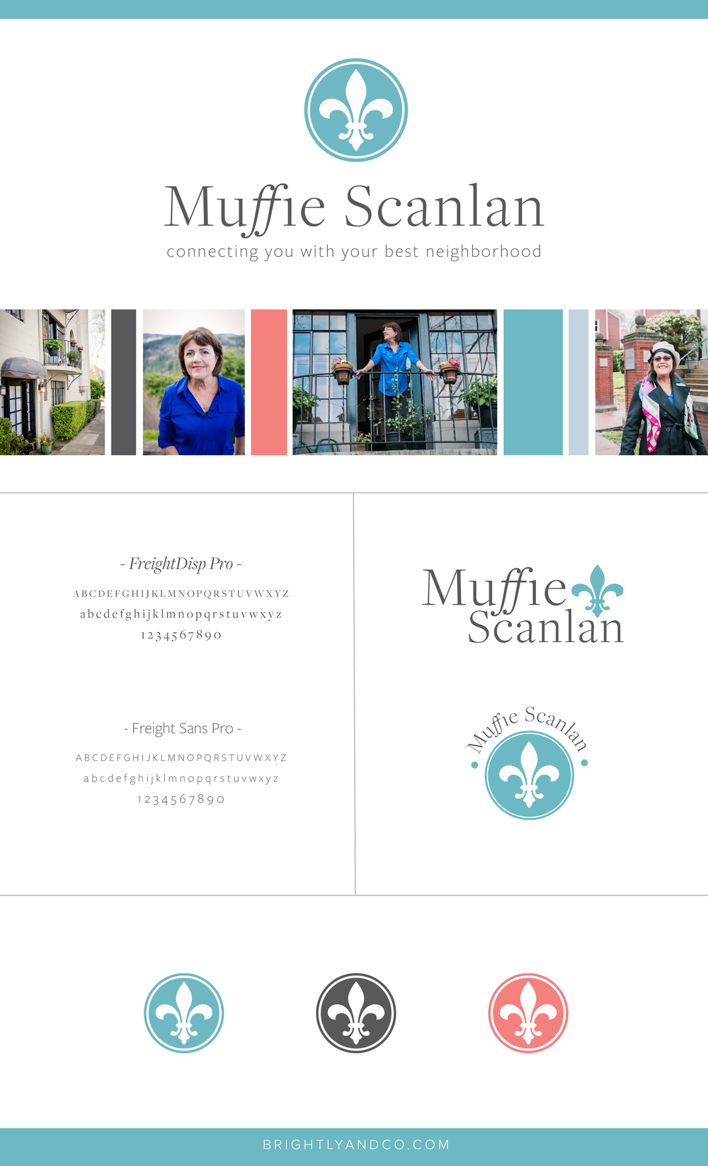 Brand Board for Muffie Scanlan, created by Brightly & Co.