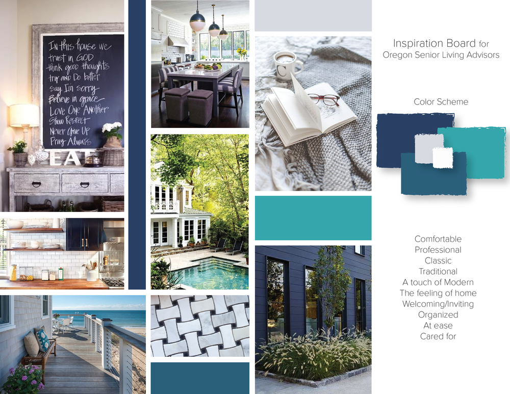 Oregon Senior Living Advisors, inspiration board by Brightly & Co.