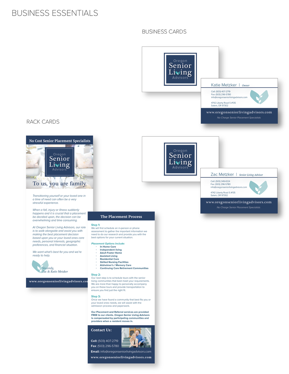 Oregon Senior Living Advisors - Business Cards designed by Brightly & Co