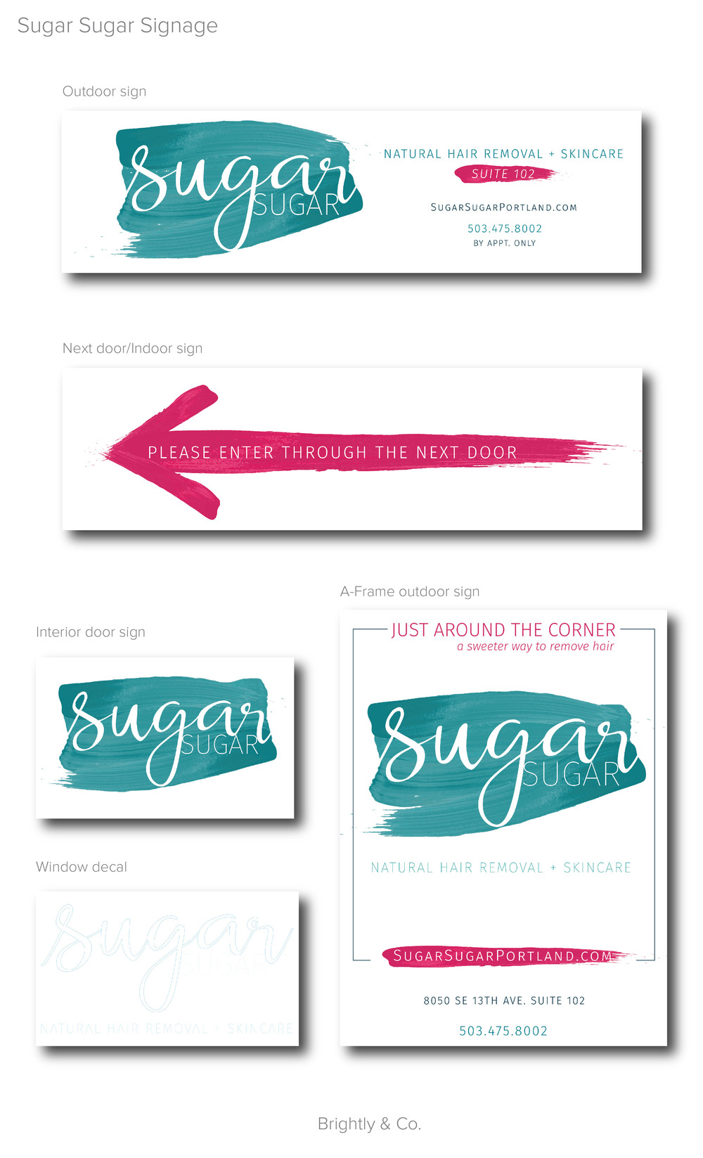 Sugar Sugar Portland Signs designed by Brightly & Co.