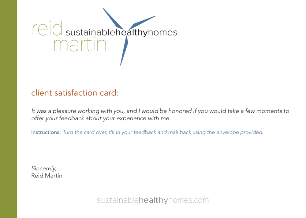 Reid Martin, Sustainable Healthy Homes Client Experience Card - Created by: Brightly & Co.